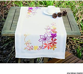 Vervaco Tischläufer Herbstblätter Stickpackung/Läufer im vorgedruckten/vorgezeichneten Kreuzstich, Baumwolle, Mehrfarbig, 40 x 100 x 0.3 cm