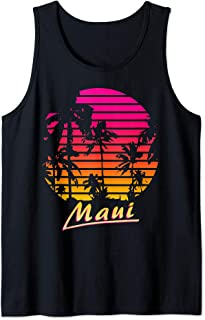 Cool Maui 80s Palm Trees Summer Sunset Tank Top