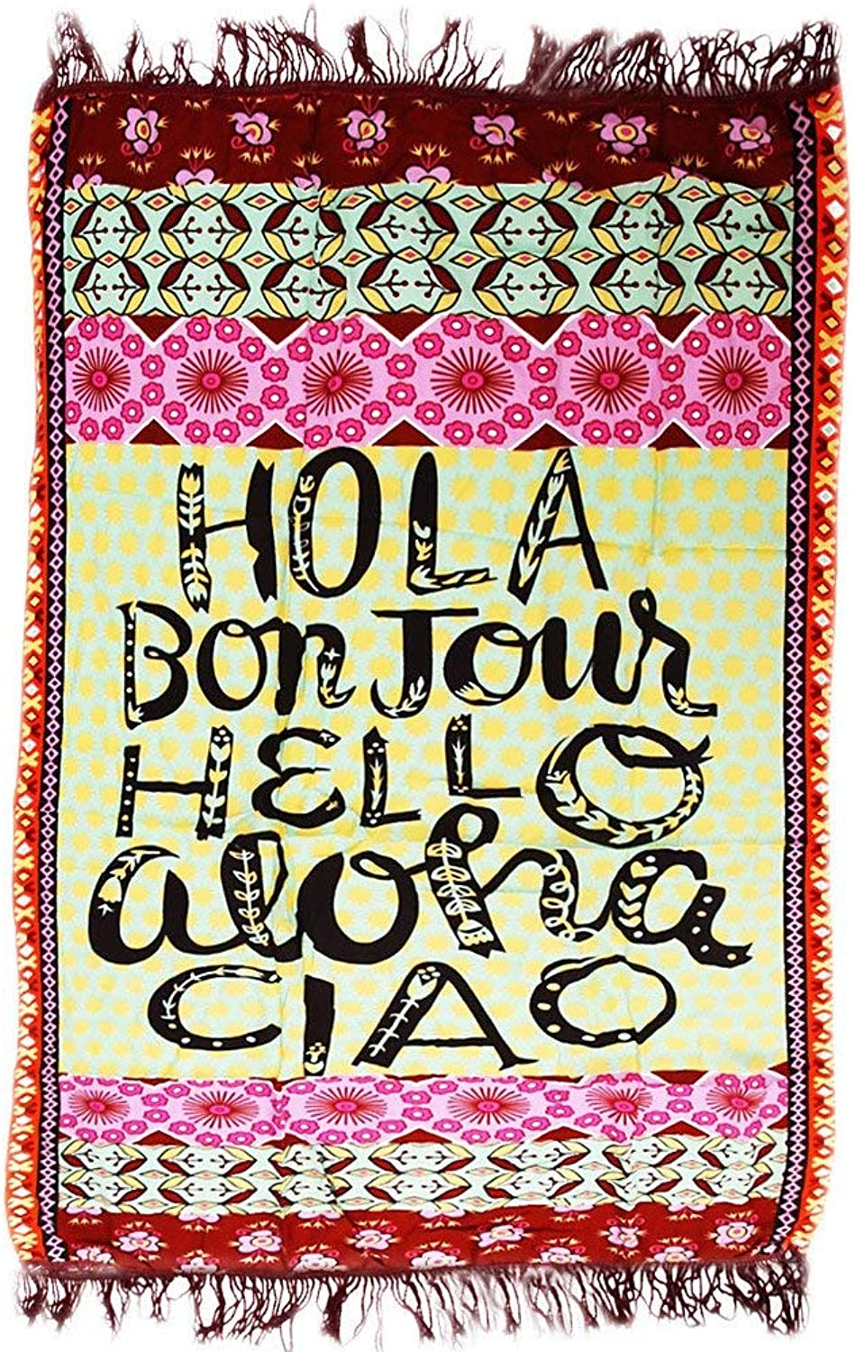 Beach Towel Letters Printed Beach Throw Tapestry Hippy Boho Cotton Tablecloth Beach Towel Square Yoga Mat for Kids & Adults