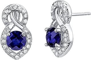 Sterling Silver Crossover Stud Earrings in Various Gemstones