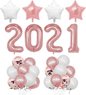 EXV Graduation Balloons 2021, Rose Gold Graduation Balloons Set with 40 Inch Huge Rose Gold 2021 Number Balloons for Gradu...