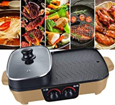 Home Multi-Function Electric Grill, with Hot Pot, Non-Stick Smokefree Barbecue, Double Temperature Control Switch, for 2-6...
