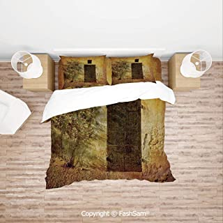 FashSam Duvet Cover 4 Pcs Comforter Cover Set Historical Artistic Italian Door of Stone House Mediterranean Picturesque Heritage Photo for Boys Grils Kids(Queen)
