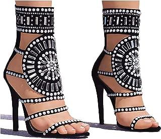 Strappy High Stiletto Heel Dress Gladiator Peep Toe Sandals Apricot Color