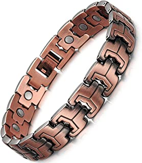 Feraco 99.99% Solid Copper Magnetic Therapy Bracelets for Men Arthritis Effective Pain Relief Vintage Copper Bracelet with Removal Tool