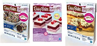 InterC Set of 3 Easy-Bake Oven Mixes Refills , one Each: Pizza, Chocolate Truffles, Red Velvet & Strawberry Cakes