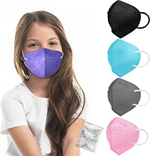 Kid Sized KN95 Face Mask, Colored Mask with Adjustable Nose Clip for Boys Girls, Individually Wrapped 5-Ply Protective Chi...