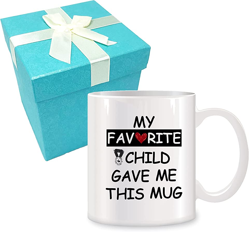 Gifts for Mum and Dad -Funny White Ceramic Coffee Mug Cup-Gag Mother's Day Father's Day Birthday Present Idea from Daughter, Son, Kids-Novelty Coffee Mug 11 Oz-My Favorite Child Gave Me This Mug