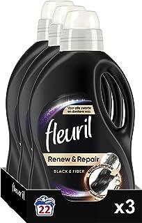 Fleuril Black & Fiber, Vloeibaar wasmiddel, Zwarte Was, 66 (3 x 22) Wasbeurten