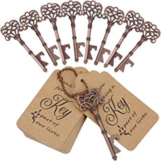 WODEGIFT 20 PCS Wedding Favors/ Party Favors Key Bottle Opener,Vintage Skeleton Key Bottle Openers with Escort Tag Cards a...