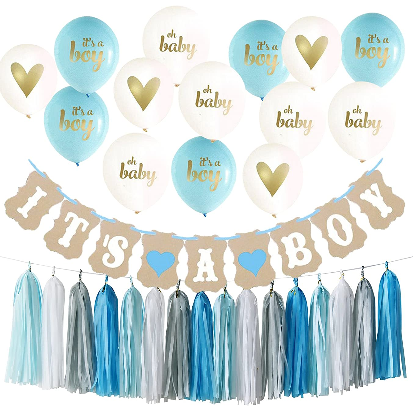 Baby Shower Decorations for Boy Kit It's A Boy Ballons It's A Boy Banner Blue White Grey Tassel Garland for Boy Nursery room Decor Kit Party Decorations Boy Baby Shower Decorations
