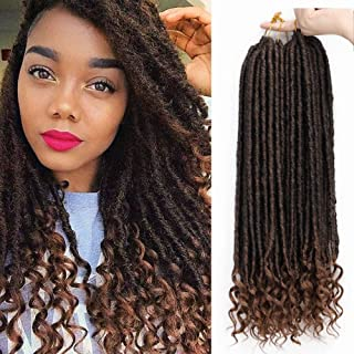 AISI BEAUTY Goddess Locs Crochet HairBraiding Pre-Looped Faux Locs Crochet Hair with Curly Ends Synthetic Hair Extensionfor Black Women 6packs/Lot 24 Roots(1B/30)
