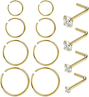 Masedy Nose Rings 12Pcs 20G 316L Stainless Steel L Shaped Nose Studs Cartilage Tragus Septum Piercing 6-12MM