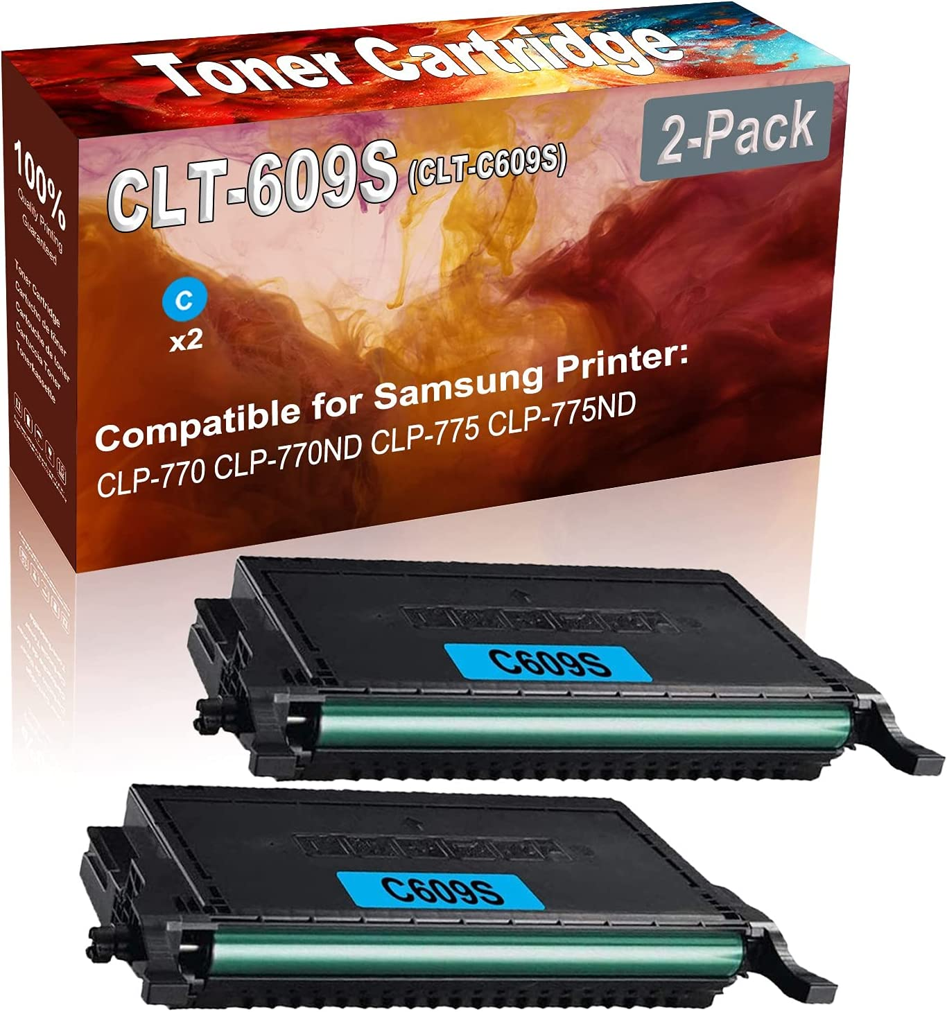 2-Pack (Cyan) Compatible CLP-770 CLP-770ND Laser Toner Cartridge (High Capacity) Replacement for Samsung CLT-609S (CLT-C609S) Printer Toner Cartridge