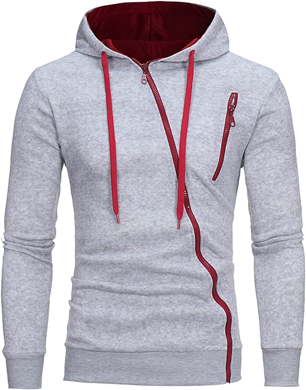 Men's Hoodies Fashion Slash Zipper Athletic Hoodies Sport Sweatshirt Solid Color Fleece Pullover Drawstring Tops
