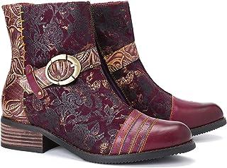 Camfosy Botines Tacones de Cuero Mujer,Botas Zapatos de Vestir de Invierno de Cuero sintético clásico Cómodo Tacones Altos Botas Punta Estrecha Cómodo