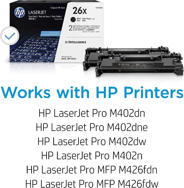 HP 26X | CF226XD | 2 Toner-Cartridges | Black | Works with HP LaserJet Pro M402 series, M426 series | High Yield