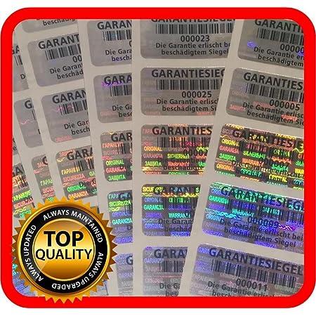 goldfarben rund 12 mm Hologramm-Etiketten 500 St/ück mit Seriennummern