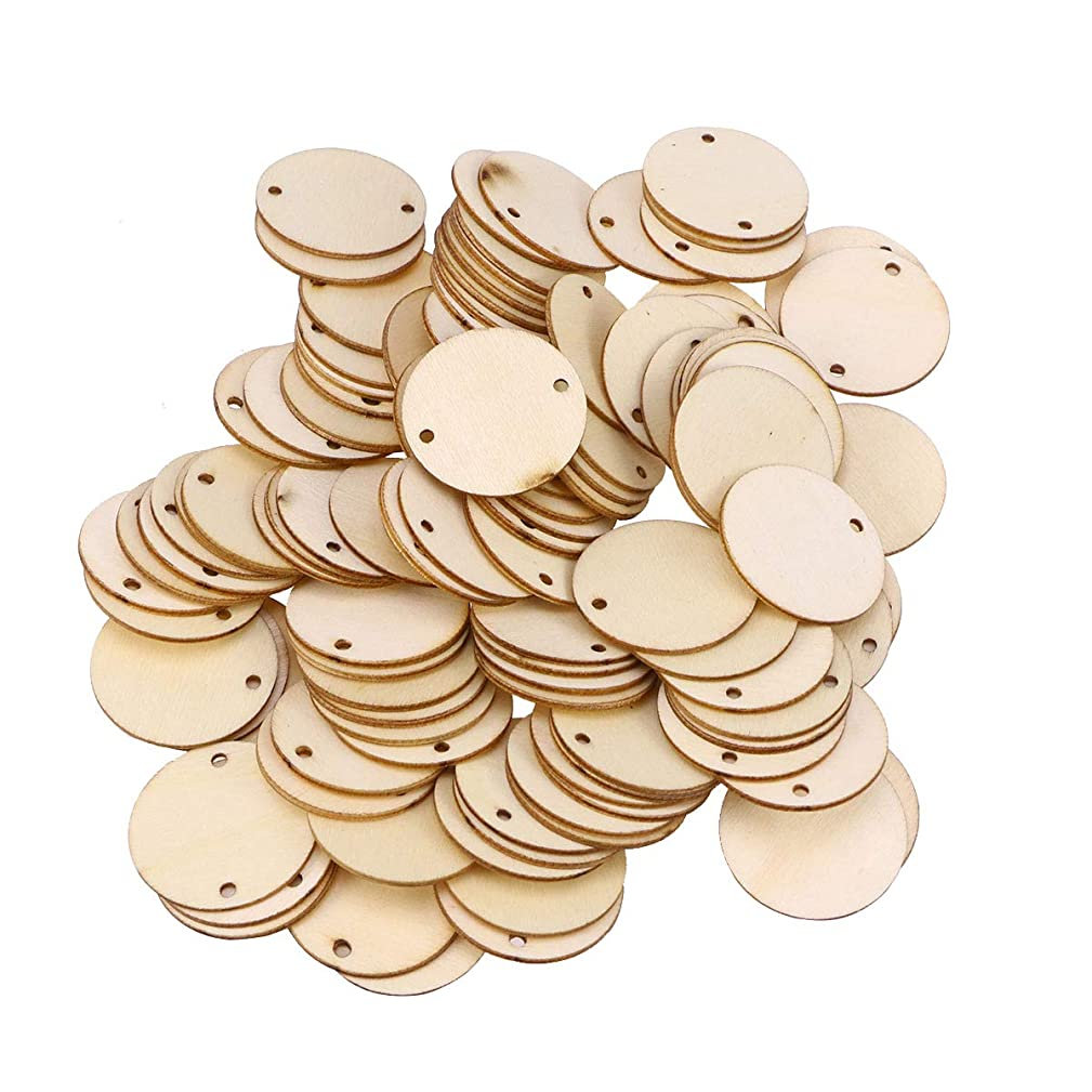 LIOOBO 100PCS Wood Slices for Centerpieces DIY Crafts Wooden Circles Pieces with Holes for Ornaments Unfinished Natural Wooden Circles DIY Pendant