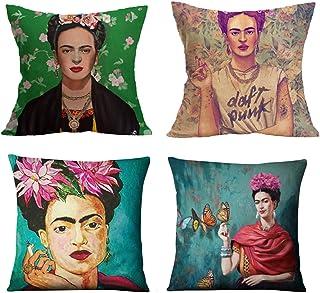 4 sets, geschikt voor Frida Kahlo kussensloop, sofa kussen, katoenen kussen, autostoel kussen 45 x 45 cm, voor woonkamer s...