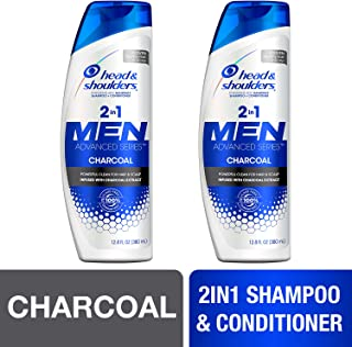 Head and Shoulders, Shampoo and Conditioner 2 in 1, Anti Dandruff, Charcoal for Men, 12.8 fl oz, Twin Pack