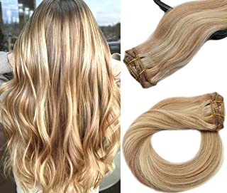 Clip in Hair Extensions Human Hair 7 Pieces 70g Silky Straight Weft Remy Real Hair (18 inch, #12-613)