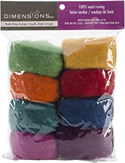 Dimensions Needlecrafts Rainbow Wool Roving for Needle Felting, 8 pack, 80g