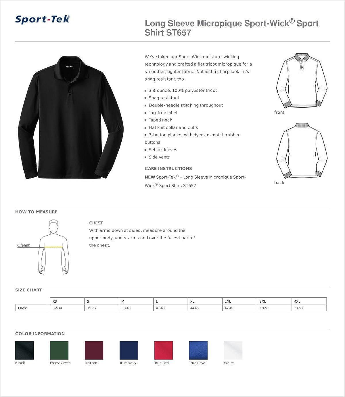 Sport-Tek Long Sleeve Micropique Sport-Wick Sport Shirt, White