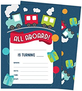 Train Style 1 Happy Birthday Invitations Invite Cards (10 Count) With Envelopes Boys Girls Kids Party (10ct)
