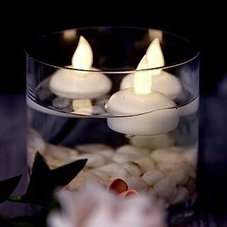 AGPtek® Lot 12 LED flytande te vattentät bröllopsfest blommig dekoration flamlös ljus varm vit