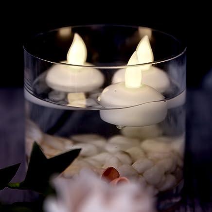 Taille Unique RGTR72 Lot de 12 Bougies Chauffe-Plat sans Flamme /à Piles LED flottantes sans Flamme Jaune vacillant pour Mariage Centre de Table et Spa Blanc Chaud