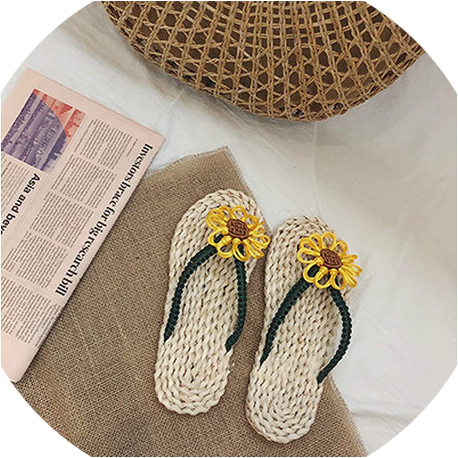 April With You Women Beach Slippers Straw Slippers Summer shoes Flowers Flat Ladies shoes Slides Gladiator shoes