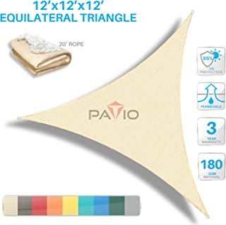 Patio Paradise 12' x12'x 12' Beige Sun Shade Sail Triangle Canopy - Permeable UV Block Fabric Durable Outdoor - Customized Available