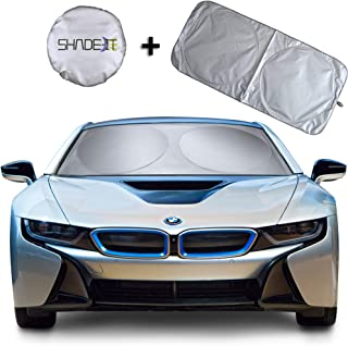 Shade-It Car Windshield Sun Shade + Free Product Durable 210T Nylon Polyester Heat Block & UV Protection Sunshades - Sunlight Blocker - Reflective Coating, Easy Storage Sunshade (Large 63.5