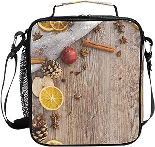 Sac à déjeuner isotherme carré portable de grande capacité pour voyage, pique-nique, école, etc. Motif cannelle, bois de c...