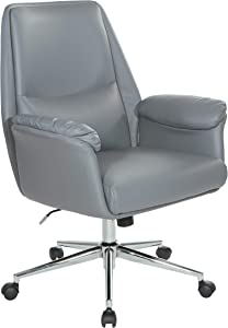 OSP Home Furnishings Glenview Office Chair, Charcoal Grey