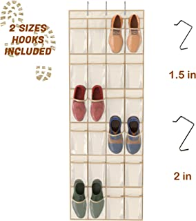 Simplized Over The Door Hanging Shoe Organizer   24-Pocket Holder Rack with Breathable Mold-Resistant Fabric and Hooks   Space-Friendly Storage for Shoes, Hair Accessories, Craft Supplies and More