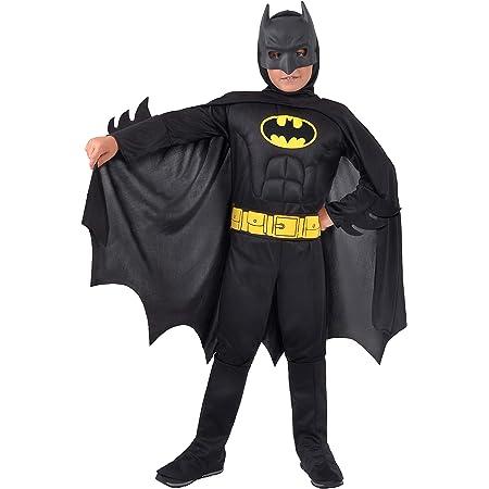 Ciao 11671.3-4 Batman Dark Knight Costume original DC Comics (Taille 3-4 ans) avec muscles pectoraux rembourrés, couleur