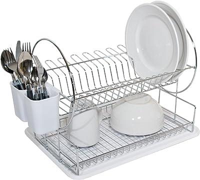 HOME BASICS Dish Drainer, 2-Tier, Round, White