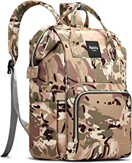 HaloVa Diaper Bag, Diaper Backpack, Daddy Mommy Baby Bag, Large Capacity Travel Backpack, Insulated Feeding Bottle Pockets and Wet Clothing Pocket, Camouflage