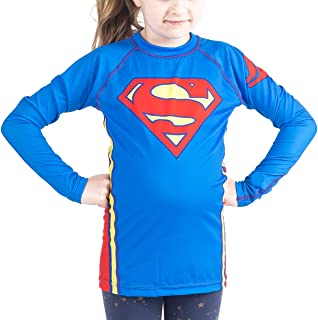 Fusion Superman Logo Kids Rash Guard Compression Shirt -Long Sleeve
