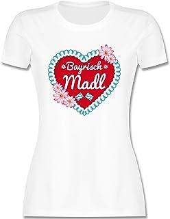 Shirtracer Oktoberfest & Wiesn Damen - Bayrisch MADL Herz - Tailliertes Tshirt für Damen und Frauen T-Shirt