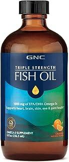 GNC Triple Strength Fish Oil, Orange, 8 fl. oz, Supports Heart, Brain, Skin, Eye and Joint Health