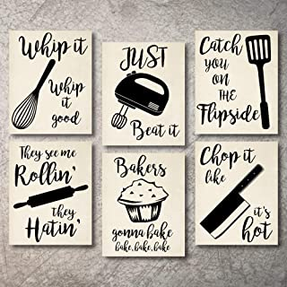 Home Decor Funny Gift 6 Kitchen Wall Art Prints Kitchenware with Sayings Unframed Farmhouse Home Office organization Signs Bar Accessories Decorations sets white house Deco Kitchen Decor (8