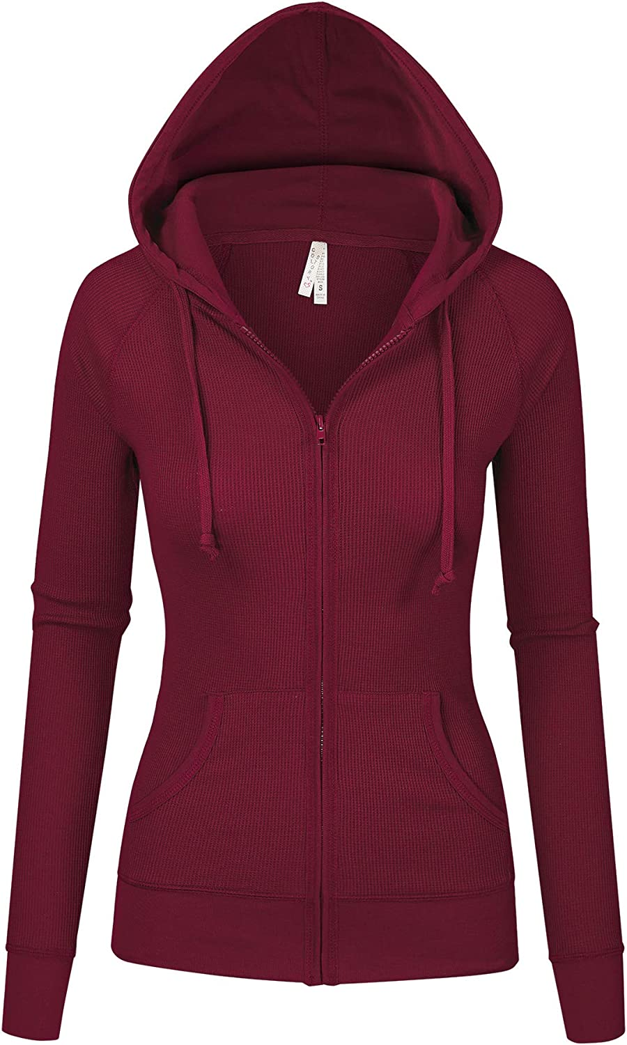 Women's Multi Color Selection Thermal Zip Up Casual Relax Fit Hoodie Jacket