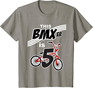 Kids 5th Birthday Boys BMX Bike Kids T-Shirt Bicycle 5 Year Old