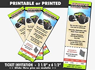 Monster Truck Birthday Party Ticket Invitation, Printable or Printed Option