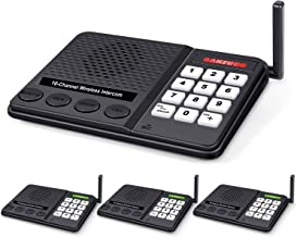 Wireless Intercom System for Home - Long Range 1 Mile Home Intercom System with Radio Sound + 10 Channel + 3 Digital Code - Room to Room Intercom Wireless for Business Office House (Black X 4)