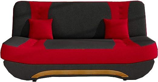 E-MEUBLES Canap/é en lit Convertible avec Coffre 3 Places de Rangement Relax clic clac Banquette Alova 04+ Alowa 46 en Tissu FEBA Noir + Rouge