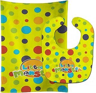 "Caroline's Treasures BB7006STBU Little Monster Baby Bib & Burp Cloth, 11 x 18"", multicolor"